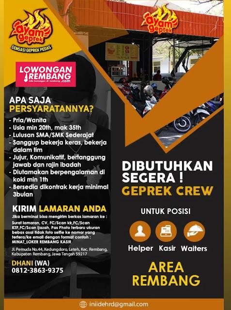 Lowongan Kerja Helper, Kasir, Waiters Ayam Geprek Rembang