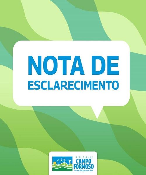 A Administração Municipal de Campo Formoso define como precipitada a denúncia realizada no dia 23/09/2021 por um vereador desse município em meios de comunicação.