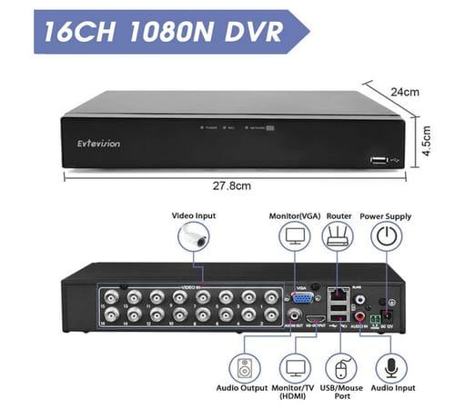 Evtevision 16CH 1080N DVR Video Surveillance Recorder