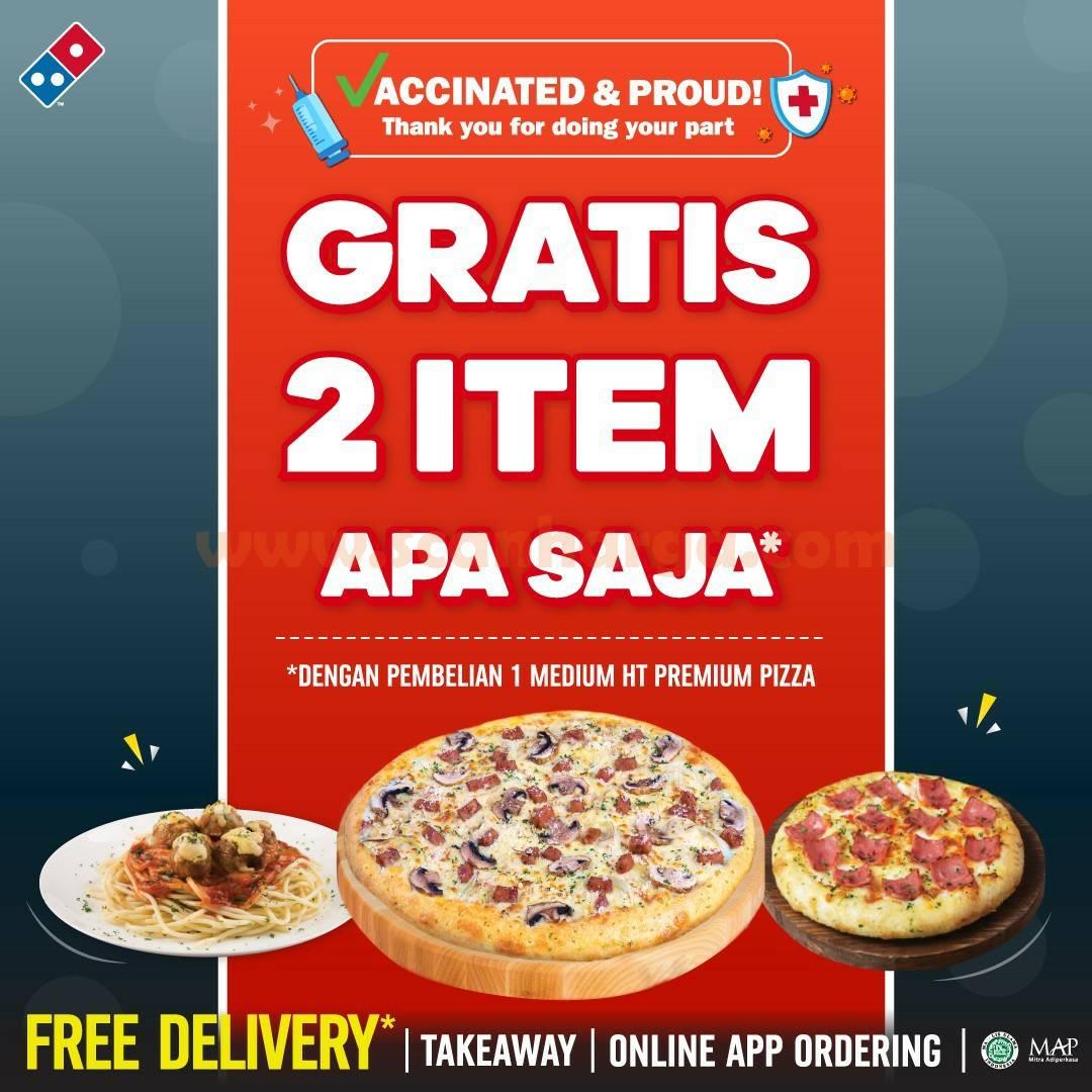 Promo Dominos Pizza GRATIS 2 Item apa saja*