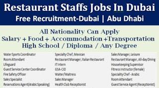 Restaurant Jobs Abu Dhabi, UAE Arabic Restaurant Staff recruitment 2021