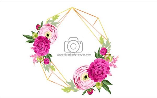 Vector Khung Hoa 3d thiệp cưới