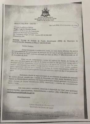 Ofício 2 do governo do estado do Maranhão prometendo ajuda que nunca chegou.