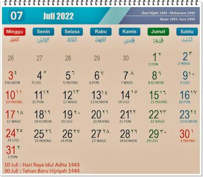 Kalender Bulan Juli 2022 Lengkap Hari Peringatannya - kanalmu