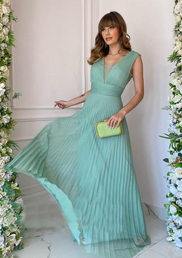 vestido longo verde menta com saia plissada em tule