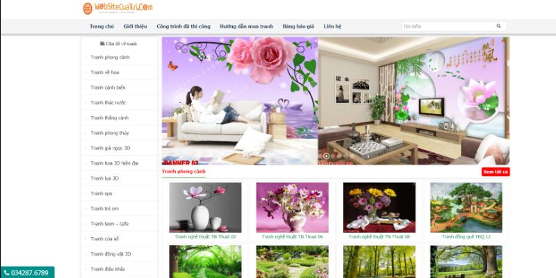 Mẫu website bán tranh dán tường miễn phí