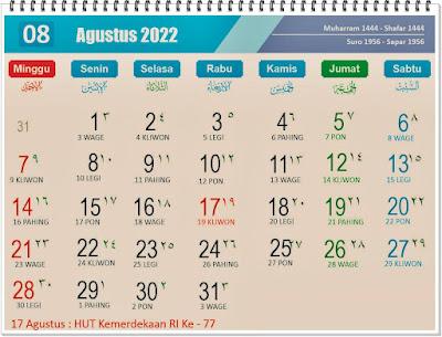 Kalender Bulan Agustus 2022 Lengkap Hari Peringatannya - kanalmu