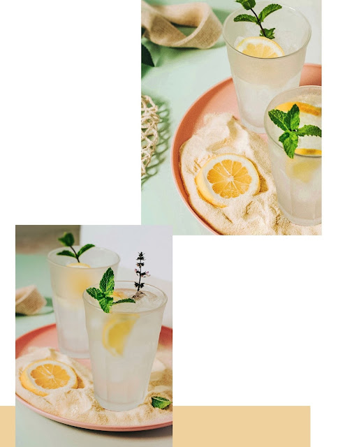 Food and Drink Photography with lemon and basil