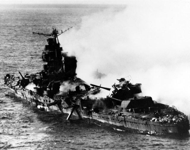 Japanese cruiser Mikuma under attack, 6 June 1942 worldwartwo.filminspector.com