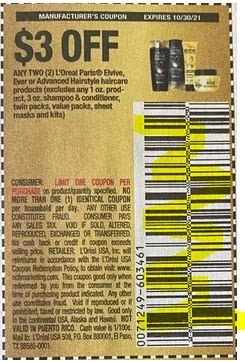 """$3.00/2 L'oreal Paris Elvive Hair Care Or Advanced Hairstyle Products Coupon from """"SAVE"""" insert week of 10/17/21."""