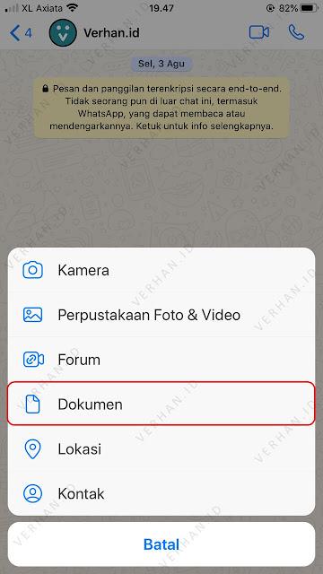 pilih menu kirim dokumen whatsapp