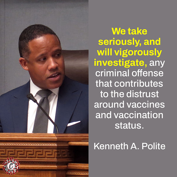 We take seriously, and will vigorously investigate, any criminal offense that contributes to the distrust around vaccines and vaccination status. — Assistant Attorney General Kenneth A. Polite Jr. of the Justice Department's Criminal Division