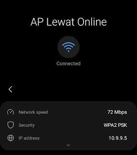 2. Test dengan menghubungkan HP ke jaringan wifi yang telah disetting