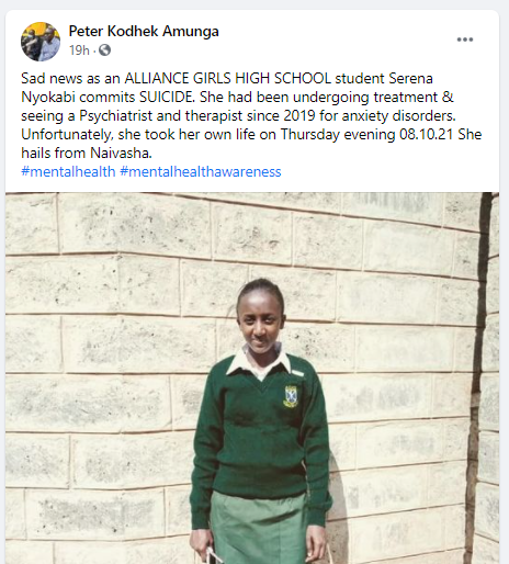 SAD NEWS AS A STUDENT AT ALLIANCE HIGH COMMITS SUICIDE