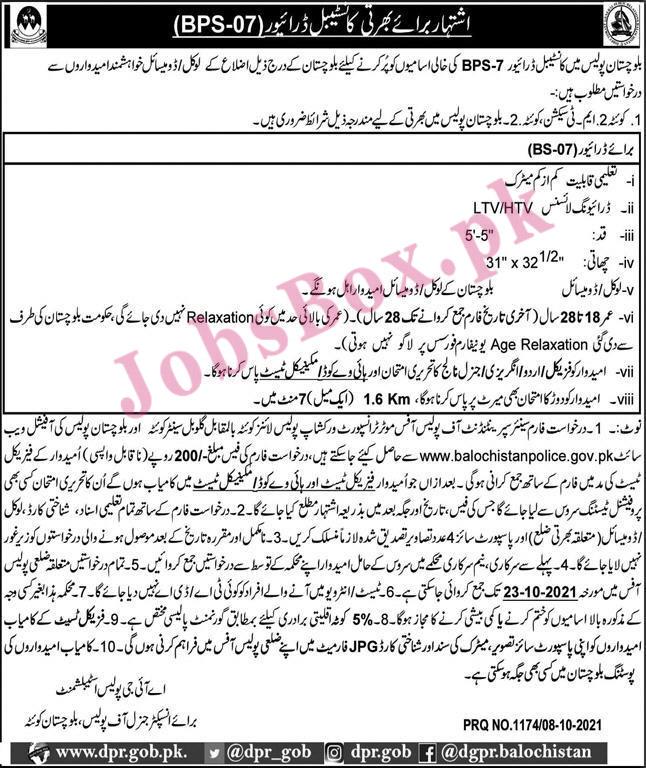 www.balochistanpolice.gov.pk - Balochistan Police Jobs 2021 in Pakistan