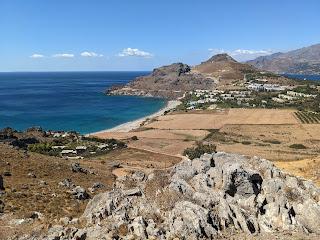 View of Damnoni Beach in Crete.