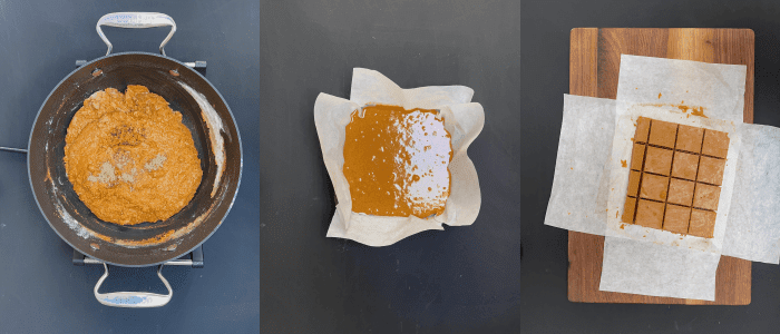 Three images of step by step instruction on how to make magaj recipe