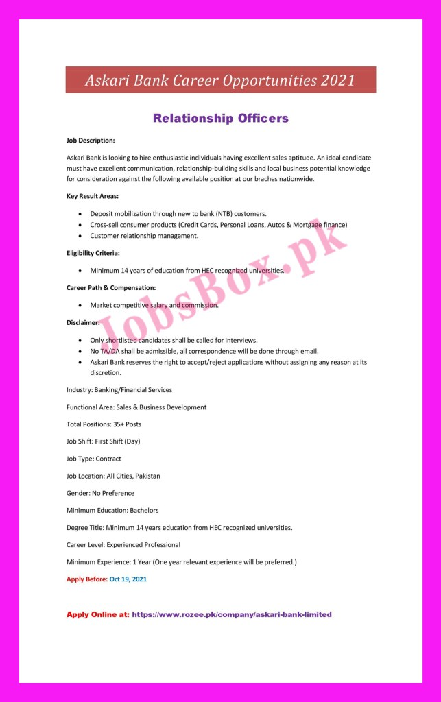 https://rozee.pk - Askari Bank Jobs 2021 in Pakistan