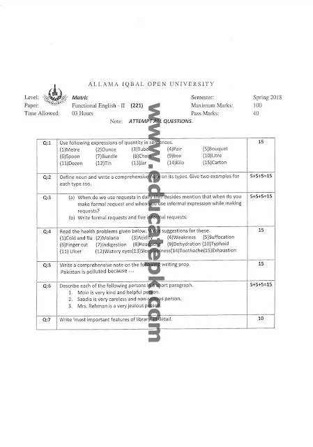 AIOU Past Paper 221 Spring 2018