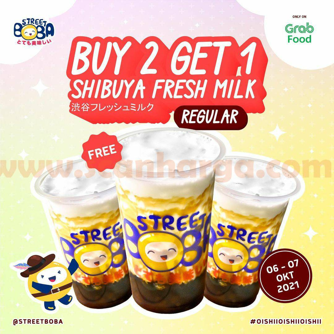 Promo STREET BOBA Buy 2 Get 1 SHIBUYA FRESH MILK