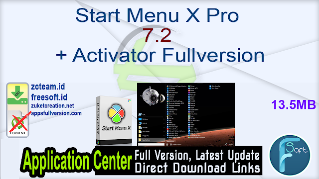 Start Menu X Pro 7.2 + Activator Fullversion