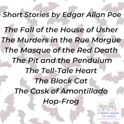 A Mom's Quest to Teach logo; short stories list of Edgar Allan Poe