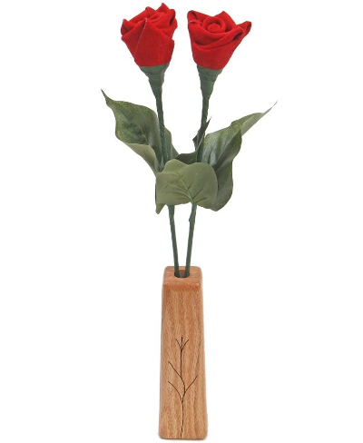 2-stem leather roses with vase