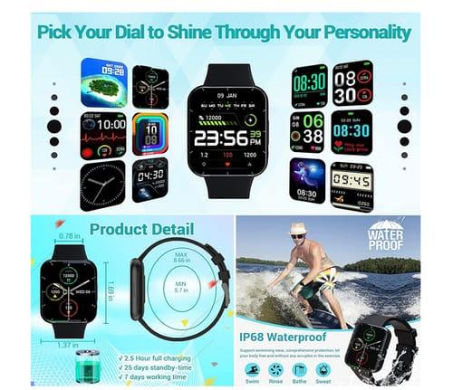 Klocaty Men Women Fitness Activity Tracker Smart Watch