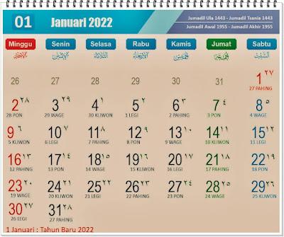 Kalender Bulan Januari 2022 Lengkap Hari Peringatannya - Kanalmu