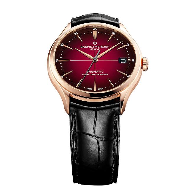 Baume et Mercier Clifton Baumatic with burgundy dial ref. M0A10591