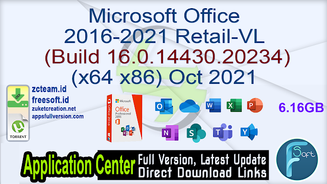 Microsoft Office 2016-2021 Retail-VL (Build 16.0.14430.20234) (x64_x86) Oct 2021