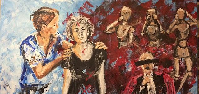 Karine Babel peint peinture sur femmes battues, le soutien qu'elles peuvent revevoir, la lâcheté des témoins.