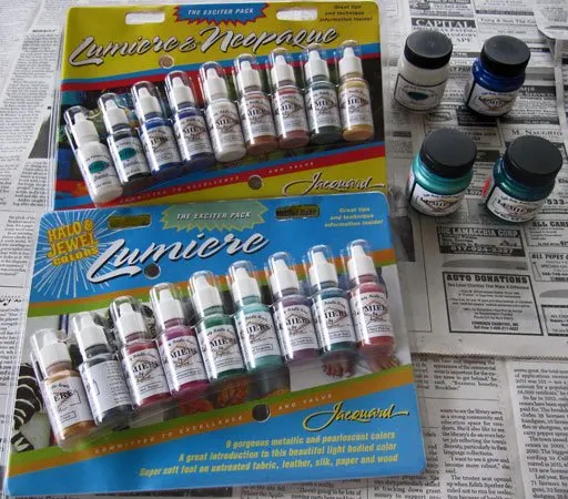 Photo of Jacquard Neopaque and Lumiere acrylic paints