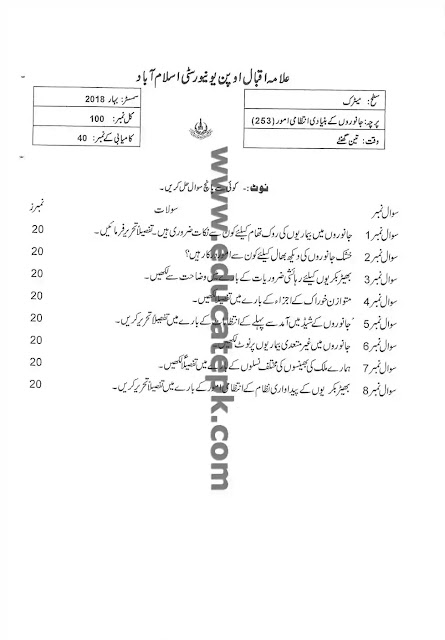 AIOU Old Paper 253 Spring 2018