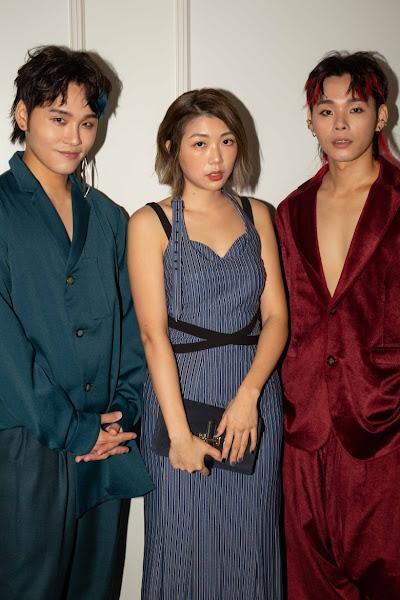 廖逸安身穿C JEAN服裝,受邀參加台北時裝週SS22,與展榮、展瑞合影