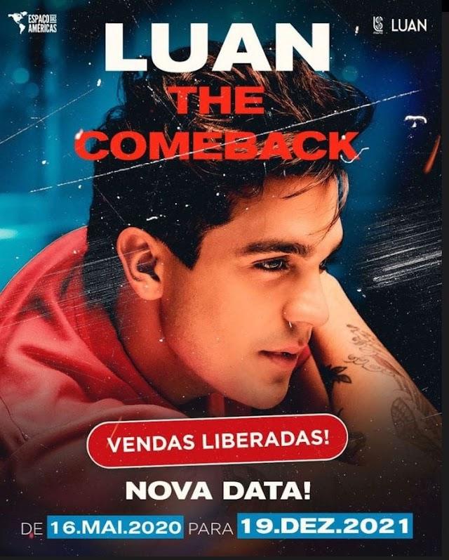 """Luan Santana """"quebra"""" a Internet após abrir vendas de ingressos para """"COMEBACK"""""""