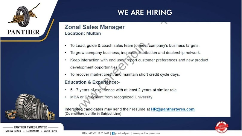 Panther Tyres Pvt Ltd Latest  Jobs For  Zonal Sales Manager