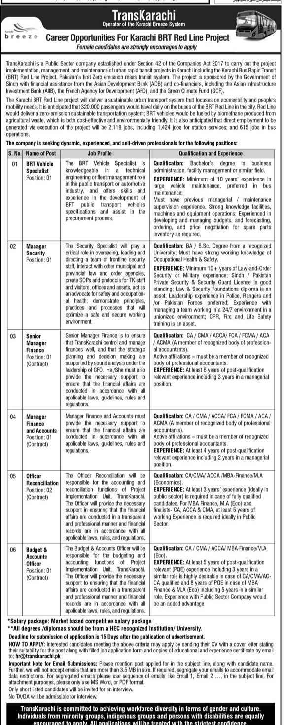 Transkarachi BRT Red Line Project Public Sector Company Karachi Jobs 2021