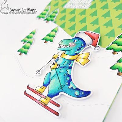 Have a Dino-mite Christmas Card by Samantha Mann for Newton's Nook Designs, Christmas Card, Christmas, Skiing, Ski, Dinosaur, Prehistoric Christmas #newtonsnook #newtonsnookdesigns #christmascard #cardmaking #chrsitmas