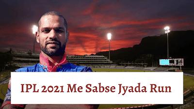 IPL 2021 Me Sabse Jyada Run Kiska Hai   आईपीएल 2021 में सबसे ज्यादा रन किसके है.
