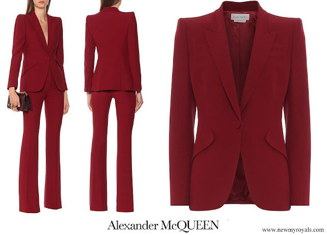Crown Princess Mary wore Alexander McQueen red wine red crepe blazer