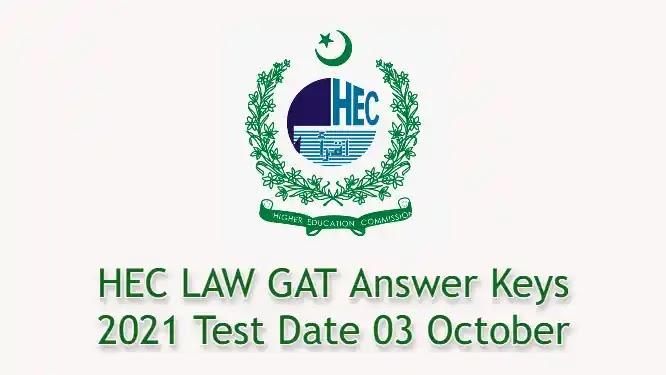 HEC LAW GAT Answer Keys 2021 Test Date 3 October 2021
