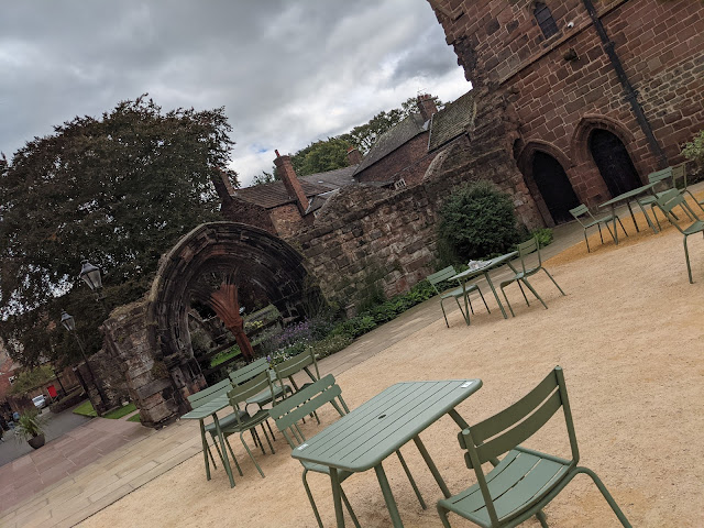 An Alternative Day Out in Cumbria | Ideas for Places to Visit  - Outdoor seating at Carlisle Cathedral Cafe