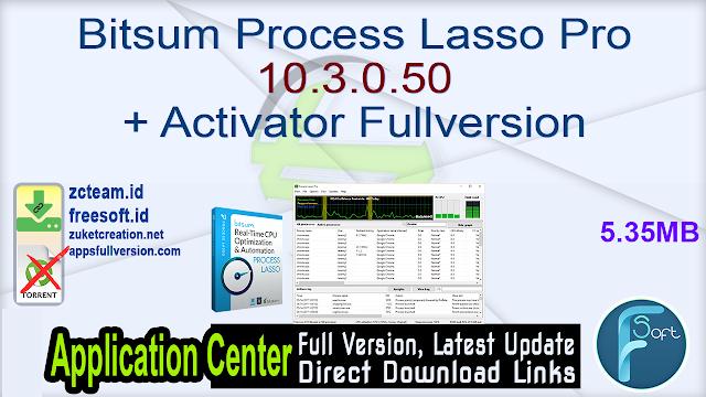 Bitsum Process Lasso Pro 10.3.0.50 + Activator Fullversion