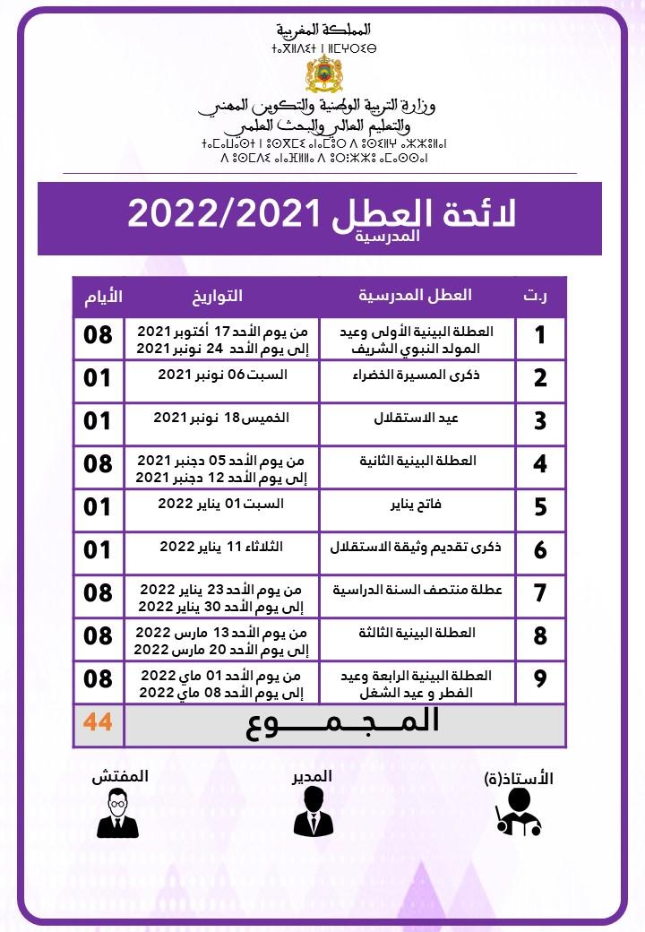 لائحة العطل المدرسية لموسم 2021/2022 في حلة مهنية رائعة