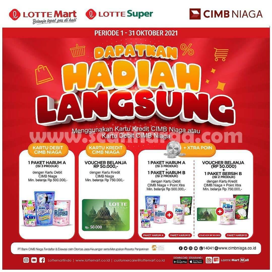 LOTTE MART Promo GRATIS Hadiah Langsung dengan Kartu Debit/ Kartu Kredit CIMB Niaga