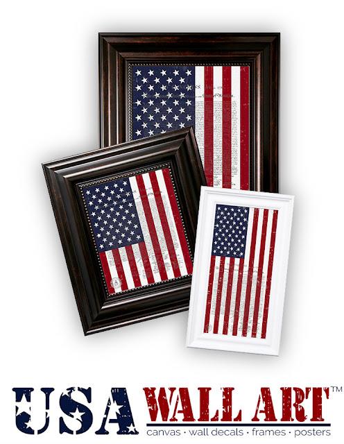 Framed US Flag with Declaration of Independence Artwork