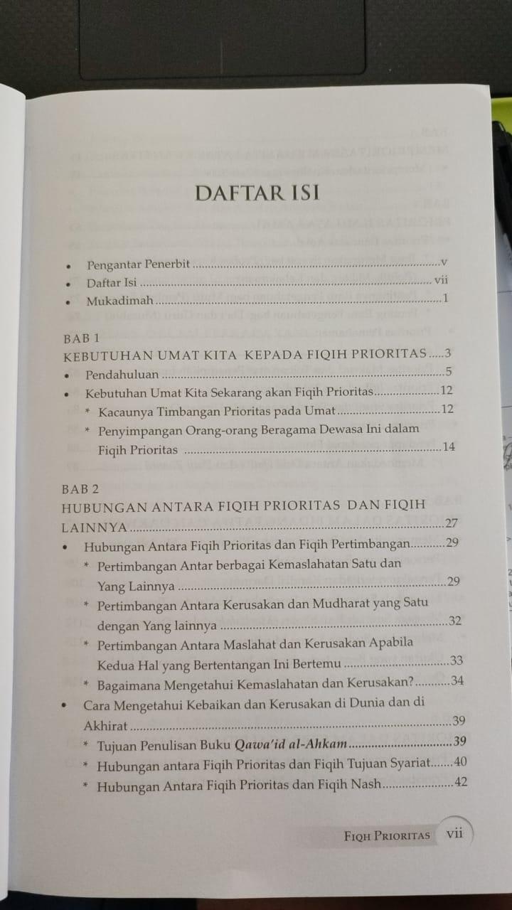 Daftar isi buku Fiqh Prioritas - Dr. Yusuf Al Qaradhawi (1)