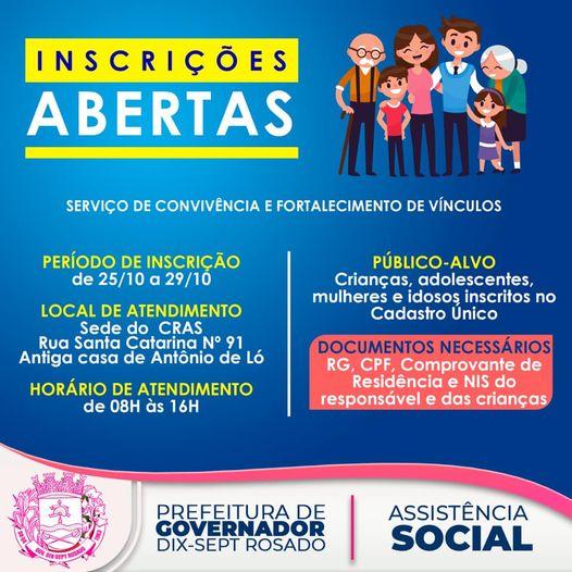Secretaria de Assistência Social de Governador abre inscrições para o Serviço de Convivência e Fortalecimento de Vínculos nesta segunda-feira (25)