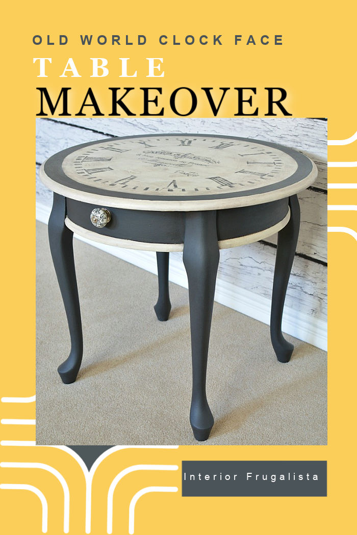 A dated Queen Anne style accent table gets an Old World Clock Face makeover with black chalk paint after two previous failed makeover attempts. #paintedclockfacetable #furnituremakeover #clockfacetabletop